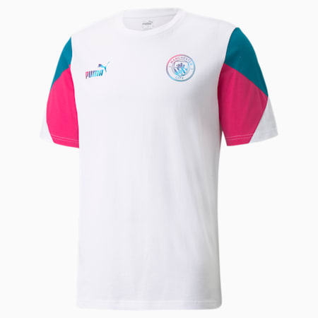 Camiseta de fútbol Manchester City FtblCulture para hombre, Puma White-Ocean Depths, pequeño