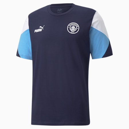 Man City FtblCulture Men's Football Tee, Peacoat-Puma White, small