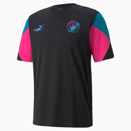 Camiseta de fútbol Manchester City FtblCulture para hombre, Puma Black-Ocean Depths, pequeño
