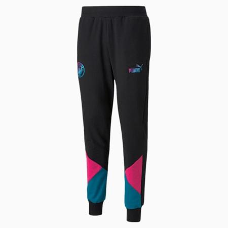 Pantalones deportivos de fútbol Manchester City FtblCulture para hombres, Puma Black-Ocean Depths, pequeño