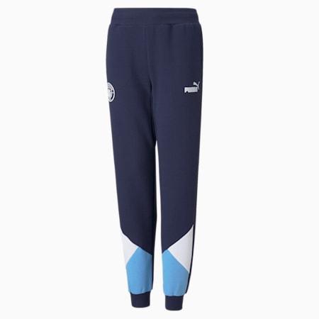 Pantalon de survêtement de football Man City FtblCulture enfant et adolescent, Peacoat-Puma White, small