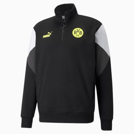 BVB FtblCulture Half-Zip Men's Football Sweater, Puma Black-Safety Yellow, small