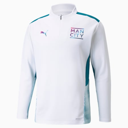 Man City Training Quarter-Zip Men's Football Top, Puma White-Ocean Depths, small