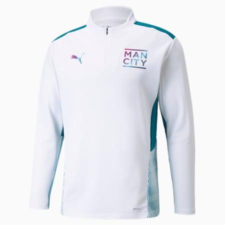 Camiseta de entrenamiento de fútbol con cierre medio Manchester City para hombre, Puma White-Ocean Depths, pequeño