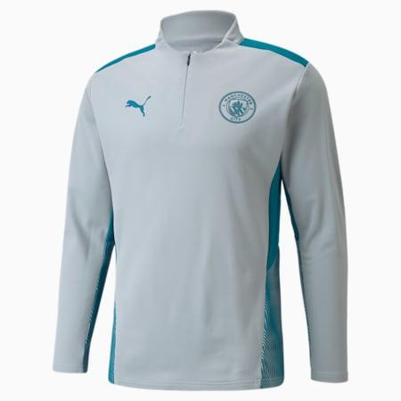 Man City Training Herren Fußball-Shirt mit kurzem Reißverschluss, Quarry-Ocean Depths, small