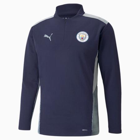 Camiseta de entrenamiento de fútbol con cierre medio Manchester City para hombre, Peacoat-Quarry, pequeño