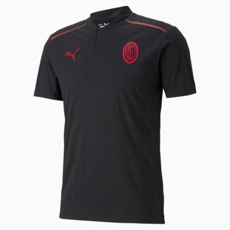 ACM Casuals Men's Football Polo Shirt, Puma Black-Tango Red, small-GBR