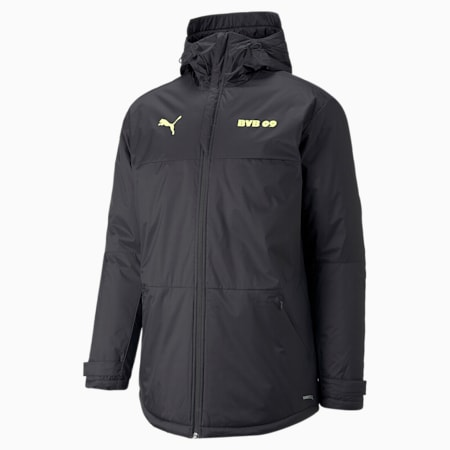 BVB Training Men's Football Winter Jacket, Puma Black-Safety Yellow, small-GBR