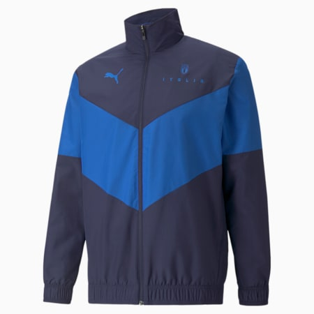 PUMA x FIRST MILE FIGC Prematch Men's Football Jacket, Peacoat-Team Power Blue, small-GBR