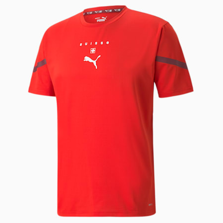 Camiseta PUMA x First Mile Switzerland Prematchpara hombre, Puma Red-Pomegranate, pequeño