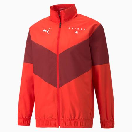 PUMA x FIRST MILE Prematch Fußballtrainingsjacke für Herren, Schweiz, Puma Red-Pomegranate, small