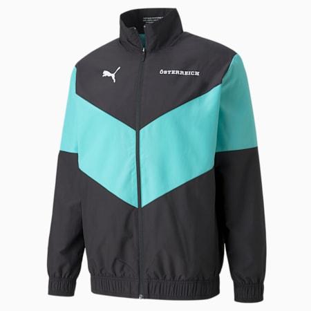 PUMA x FIRST MILE Austria Prematch Men's Football Jacket, Puma Black-Blue Turquoise, small