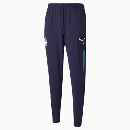 OM Prematch Men's Football Pants, Peacoat-Bleu Azur, small