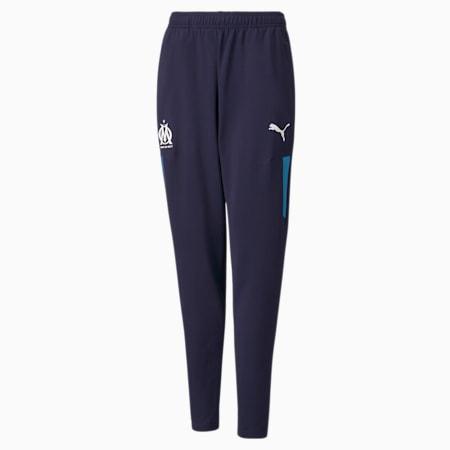 Pantalon de football avant-match OM enfant et adolescent, Peacoat-Bleu Azur, small
