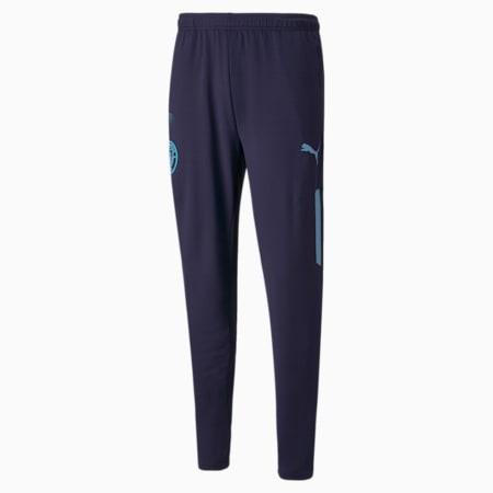 Męskie piłkarskie spodnie Man City Prematch, Peacoat-Team Light Blue, small