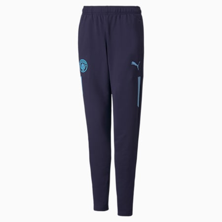 Man City Prematch Youth Football Pants, Peacoat-Team Light Blue, small-GBR