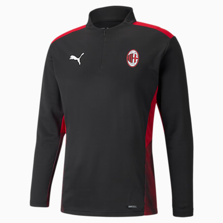 Camiseta de entrenamiento de fútbol con cierre medio AC Milan para hombre, Puma Black-Tango Red, pequeño