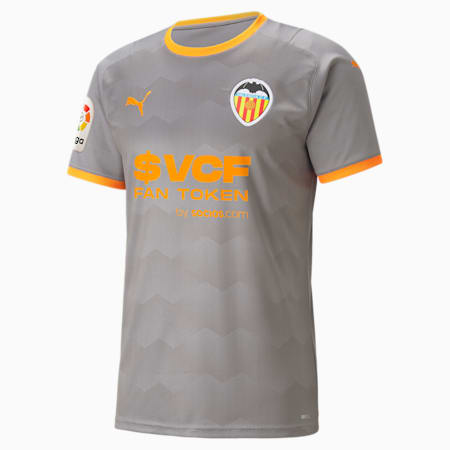 Maglia da calcio Valencia CF Fourth Replica da uomo, Steel Gray-Vibrant Orange, small
