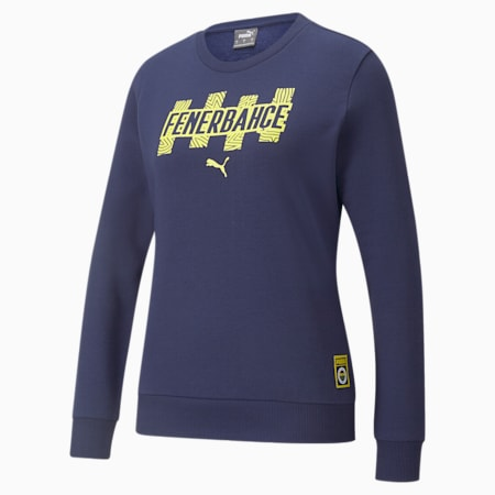 Fenerbahçe S.K Damen ftblCore T-Sweatshirt mit Rundhalsausschnitt, Medieval Blue-Blazing Yellow, small