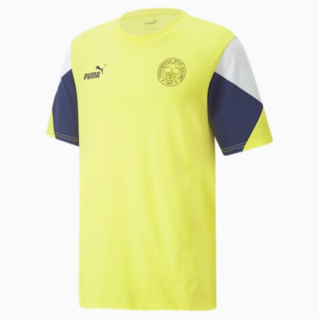 FSK Fenerbahçe ftblCulture Tee-shirt pour hommes, Blazing Yellow-Medieval Blue, small