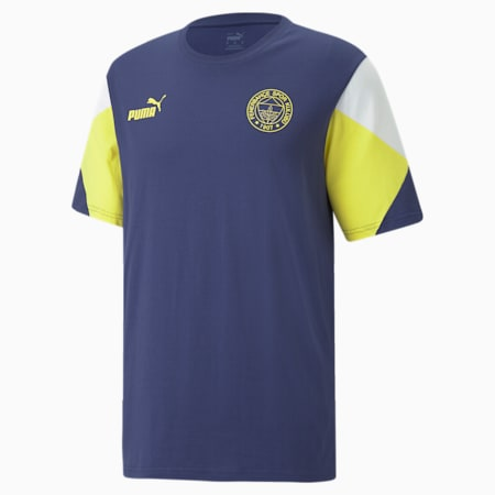 FSK Fenerbahçe ftblCulture Tee-shirt pour hommes, Medieval Blue-Blazing Yellow, small
