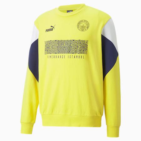 Fenerbahçe S.K. ftblCulture Crewneck Men's Sweater, Blazing Yellow-Medieval Blue, small