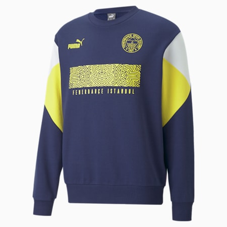 Fenerbahçe S.K. ftblCulture Crewneck Men's Sweater, Medieval Blue-Blazing Yellow, small