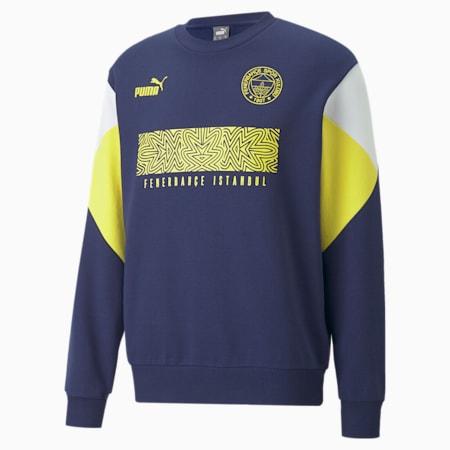 Sudadera de cuello redondo ftblCulture del Fenerbahçe S.K para hombre, Medieval Blue-Blazing Yellow, small