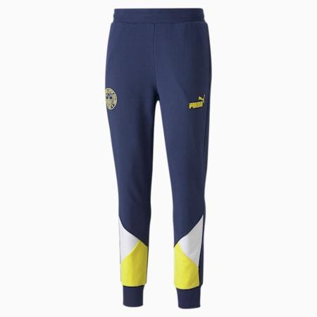 Fenerbahçe S.K. ftblCulture Men's Track Pants, Medieval Blue-Blazing Yellow, small