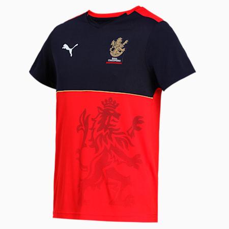Royal Challengers Bangalore Men's Fan Slim-fit T-shirt, Navy Blazer-Flame Scarlet, small-IND
