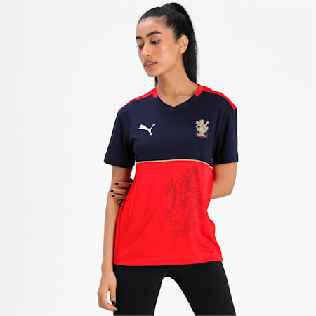 Royal Challengers Bangalore Women's Fan Relaxed-fit Jersey, Navy Blazer-Flame Scarlet, small-IND