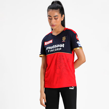 Royal Challengers Bangalore Women's Replica Relaxed-fit Jersey, Navy Blazer-Flame Scarlet, small-IND