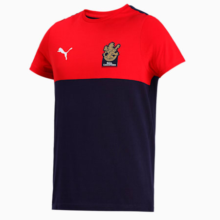 Royal Challengers Bangalore Men's Fanwear Graphic  Slim-fit T-shirt, Peacoat-High Risk Red, small-IND