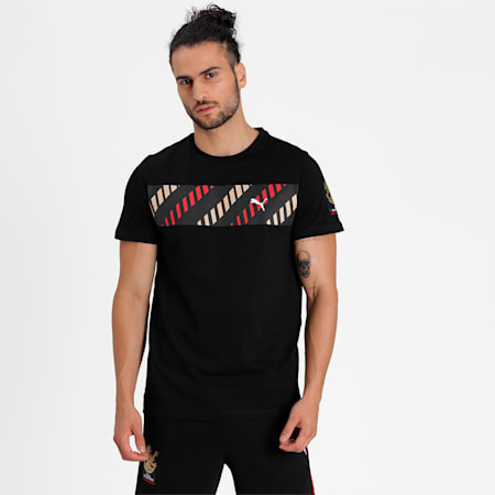 Royal Challengers Bangalore Men's Fanwear  Graphic  Slim-fit T-shirt, Puma Black, small-IND