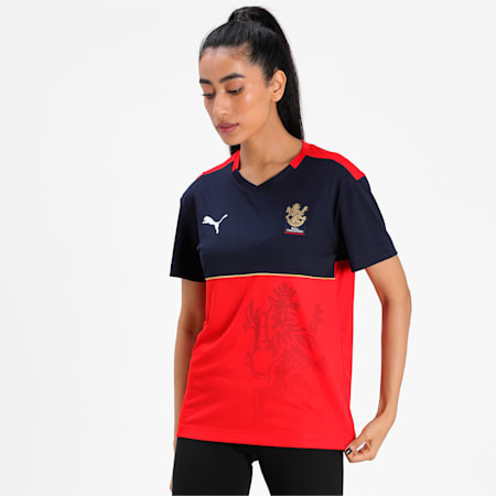 Royal Challengers Bangalore Virat Kohli Women's Fan Relaxed-fit Jersey, Puma New Navy-Fiery Red, small-IND
