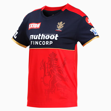 Royal Challengers Bangalore Virat Kohli Women's Replica Relaxed-fit Jersey, Puma New Navy-Fiery Red, small-IND