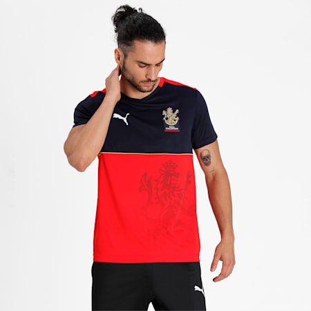 Royal Challengers Bangalore  AB de Villiers Men's Fan Slim-fit Jersey, Puma New Navy-Fiery Red, small-IND