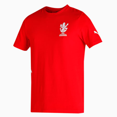 Royal Challengers Bangalore Graphic Men's T-Shirt, High Risk Red-Puma White, small-IND