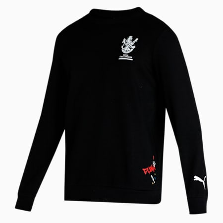 Royal Challengers Bangalore Graphic Men's Sweat Shirt, Puma Black-High Risk Red, small-IND