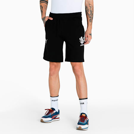Royal Challengers Bangalore Graphic Men's Shorts, Puma Black-High Risk Red, small-IND