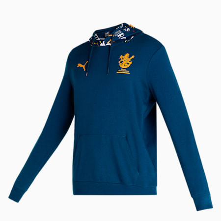 Royal Challengers Bangalore Graphic Men's Hoodie, Intense Blue-Puma White, small-IND