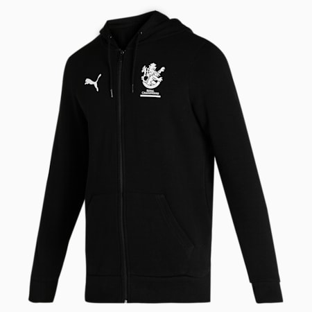 Royal Challengers Bangalore Graphic Men's Full-Zip Hoodie, Puma Black-High Risk Red, small-IND