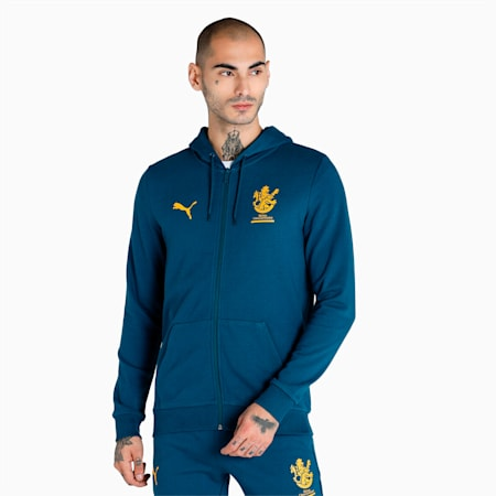 Royal Challengers Bangalore Graphic Men's Full-Zip Hoodie, Intense Blue-Mineral Yellow, small-IND