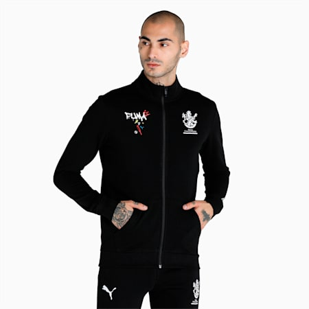 Royal Challengers Bangalore Graphic Men's Full-Zip Sweat Shirt, Puma Black-High Risk Red, small-IND