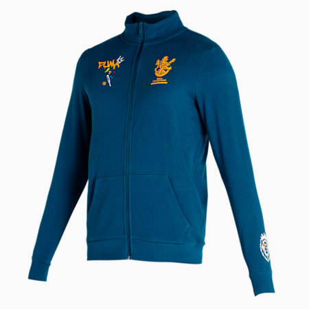 Royal Challengers Bangalore Graphic Men's Full-Zip Sweat Shirt, Intense Blue-Mineral Yellow, small-IND