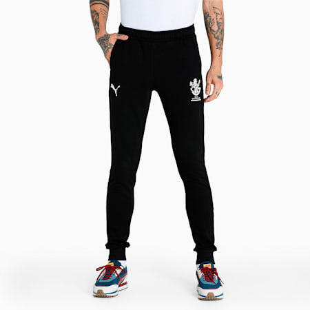 Royal Challengers Bangalore Graphic Men's Knitted Pants, Puma Black-High Risk Red, small-IND