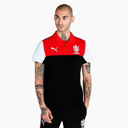 Royal Challengers Bangalore Colourblocked Men's Polo, Puma Black-High Risk Red, small-IND