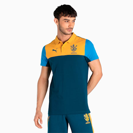 Royal Challengers Bangalore Colourblocked Men's Polo, Intense Blue-Mineral Yellow, small-IND