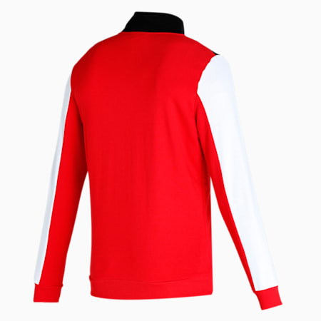 Royal Challengers Bangalore Colourblocked Men's Full-Zip Jacket, Puma Black-High Risk Red, small-IND
