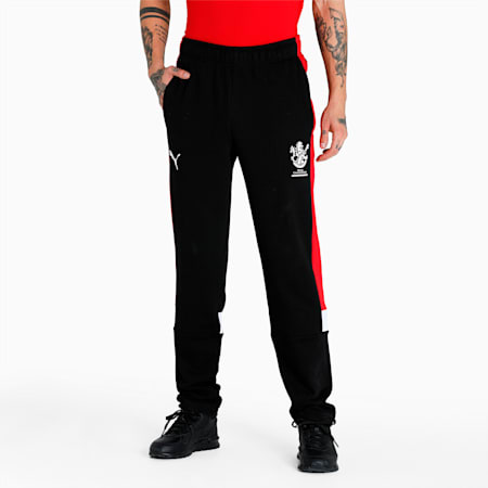 Royal Challengers Bangalore Colourblocked Men's Knitted Pants, Puma Black-High Risk Red, small-IND